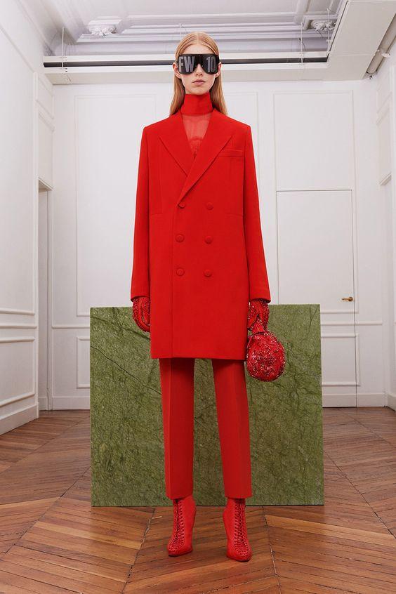red outfit harper's bazaar